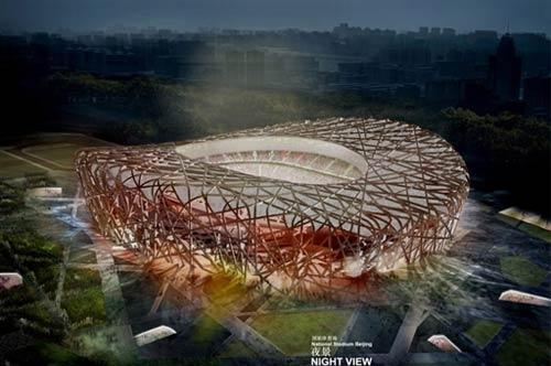 الاماكن الاولمبية جاهزة فى حين تم بناء استاد عش الطائر