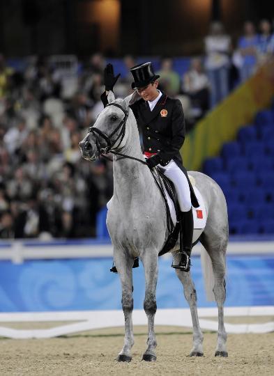 图文-中国选手亮相马术赛场 灰色宝马英姿挺拔