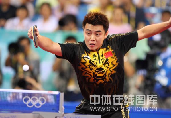 图文-马琳夺乒乓球奥运男单金牌 王皓雄鹰展翅