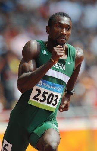 图文-奥运会男子200米预赛 尼日利亚选手过弯道