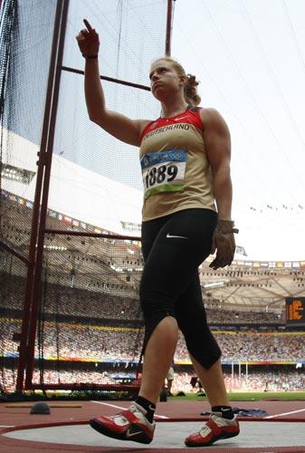 图文-女子链球及格赛赛况 德国运动员在比赛中