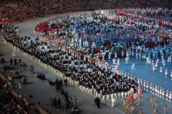图文-开幕式入场仪式 美国代表团步入鸟巢