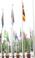 图文-各代表团奥运村升旗仪式 乌干达国旗升起