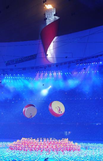 图文-北京奥运会闭幕式举行 主火炬与飞天大鼓