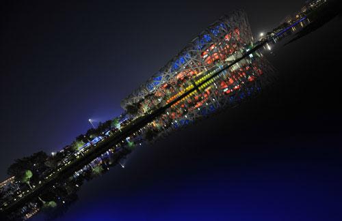图文-奥运开幕式最后一次彩排 换个角度看鸟巢