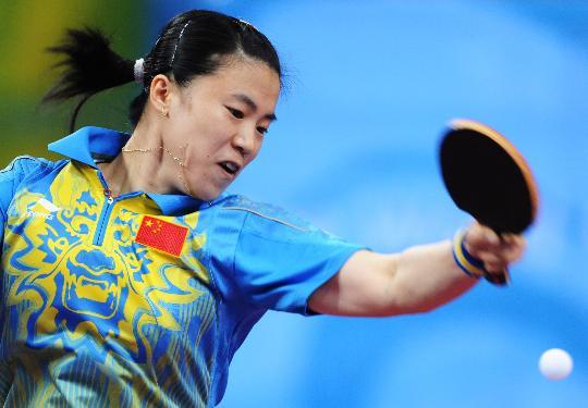 图文-[乒乓球]王楠进入女单八强 大力扣球