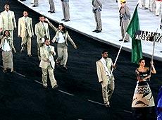 雅典奥运会开幕式 非洲利比亚代表团入场