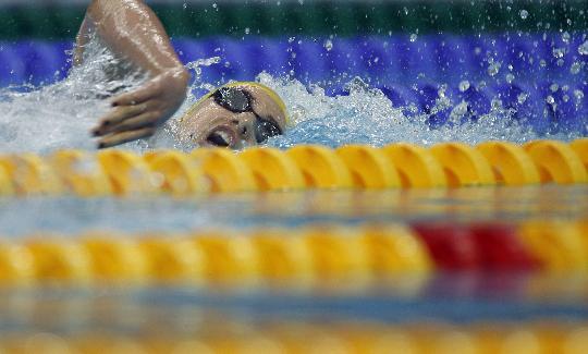 图文-赖斯获女子混合400米金牌 比赛中分秒必争