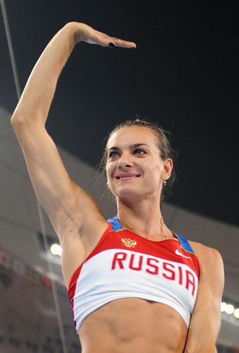 图文-田径女子撑杆跳高决赛 伊辛巴耶娃在招手