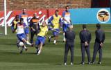 教练注视球员一举一动