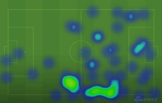 穆勒的活动热区图(进攻方向从左向右)