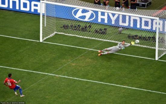 塞萨尔在对智利的点球大战中屡次判断正确