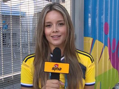 美女记者助威哥伦比亚