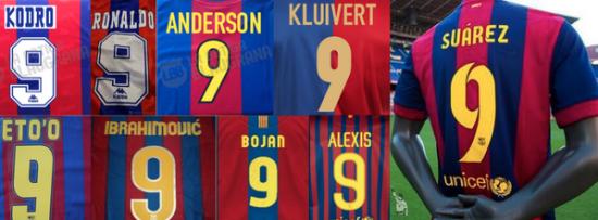 巴萨9号球衣见证过很多伟大的名字