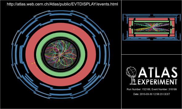 总能量7兆电子伏特的两束质子束对撞瞬间
