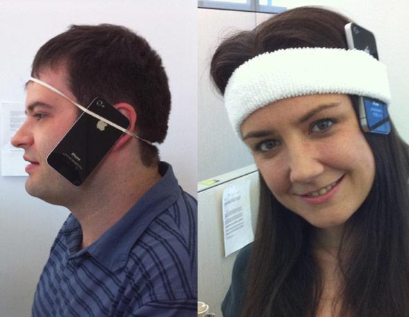 直接用橡皮筋或头巾绑在头上