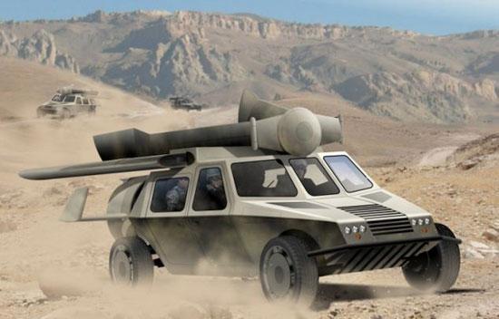 变形:该车的机翼折叠起来,摇身变成一辆装甲车。