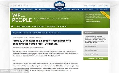 在数千人签名请愿要求政府披露与外星人接触的真相之后,白宫做出回应,否认曾与外星人联系