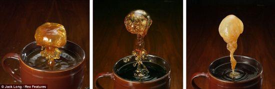 杰克-朗通过高速摄影术拍摄到咖啡因饮品飞溅的惊人瞬间