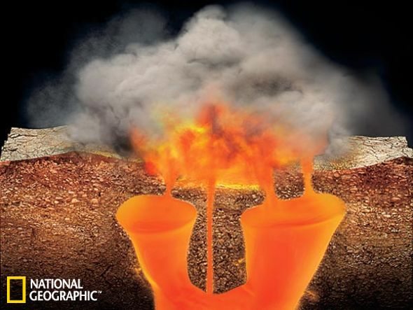示意图:黄石公园下方的超热岩浆