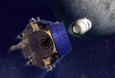 示意图:正在高速撞向月球的LCROSS撞击器以及半人马座上面级