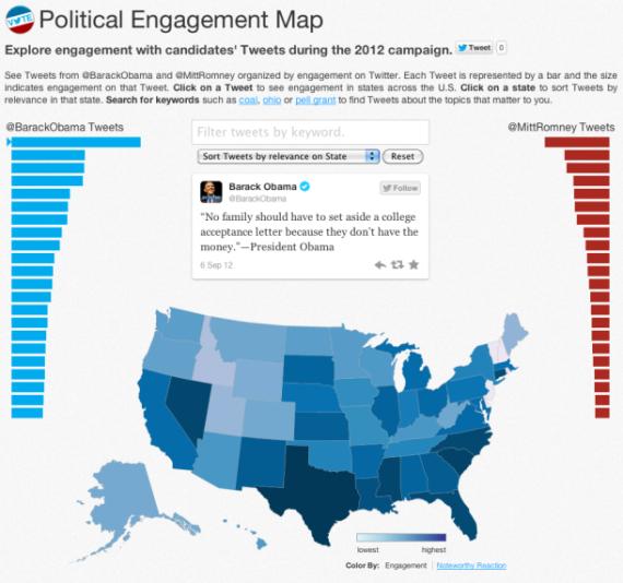 这张地图显示了美国各个州与大选有关的Twitter消息数量