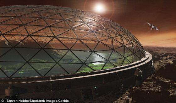 火星上具有保护作用的未来派圆顶屋设计,它显示出与马斯科一样的想法,即圆顶屋是透明的,并通过二氧化碳加压,以便火星土壤能够生长可供生命生存的庄稼