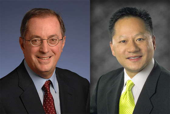 继欧德宁(左)后,英特尔董事会正考虑从外部选拔CEO,黄仁勋(右)会成为这一人选吗?