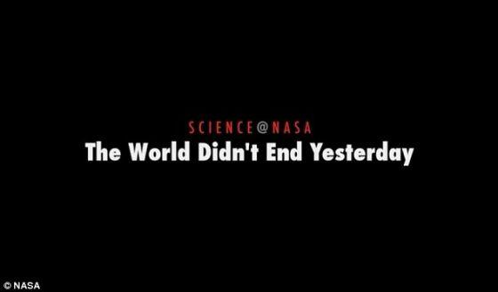 为了传播乐观的消息,美国宇航局提前10天公布一段视频,用来解释为什么2012年12月21日不会发生世界末日