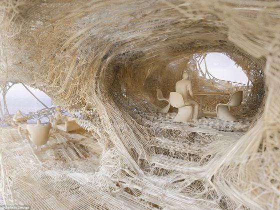 像蜘蛛网:这项提议是打印住宅初期模型的新发展,这种概念是去年10月在伦敦3D打印展上首次提出的,它并非采用固体墙,而是以骨骼为基础的纤维尼龙结构为主要特点