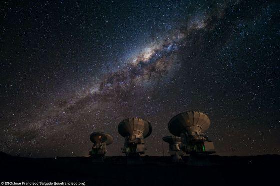建造过程中的ALMA望远镜阵列,此时这一设备只建成了最早的4台射电天线,孤独矗立于智利海拔5000米的荒漠之中
