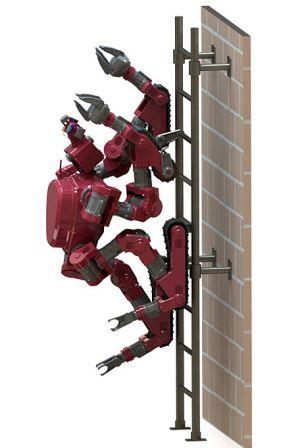 CHIMP装有三指操纵器,可以爬梯子,移动碎片,或者可以转动方向盘