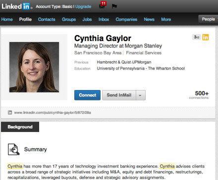 图为:辛西娅・盖勒的Linkedin帐号