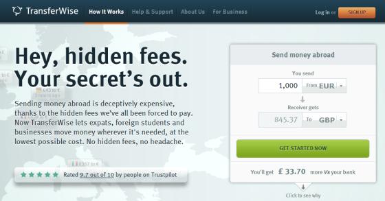 TransferWise官网截图
