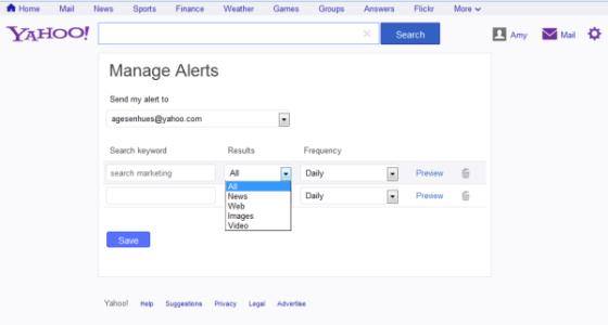 雅虎发布网页、图片及视频搜索提醒功能
