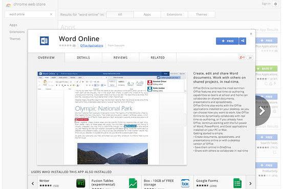 Chrome Web Store中的Word Online
