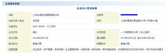上海云鑫投资管理有限公司企业信息