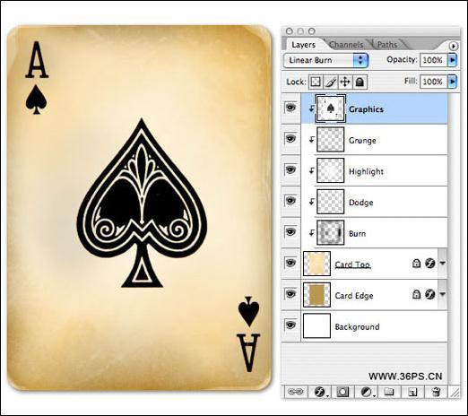 Photoshop制作超酷仿古效果的扑克牌