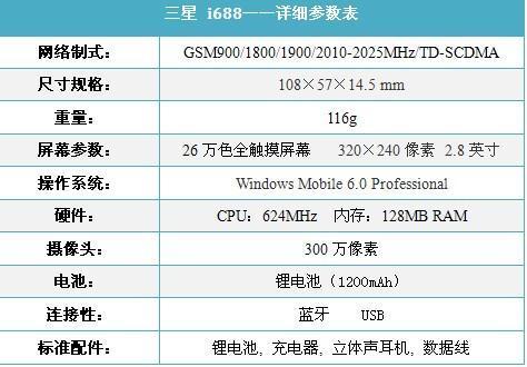 大气典雅三星TD智能机i688售2378元