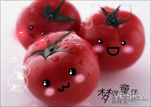 """""""软件简单涂鸦,给这些水果涂鸦上可爱表情."""