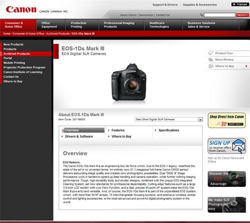 佳能官网透露EOS 1Ds Mark III已经停产