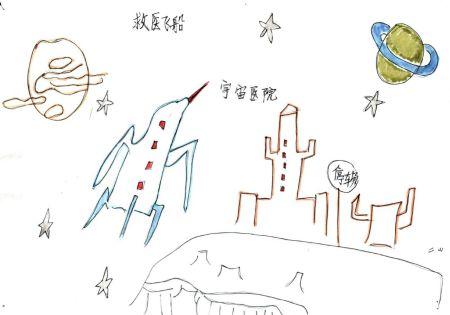 科学幻想画飞船简笔画
