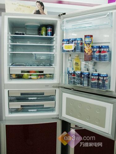 惊爆价美的286升三门冰箱卖场热销