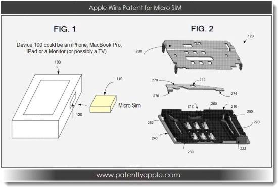 苹果专利申请中的一张图片。其中编号100的设备可以是iPad、上网本、Macbook或其他类型的电脑、智能手机、显示器或多媒体播放器。编号110的则可能是SIM卡、mini SIM卡或Micro SIM卡
