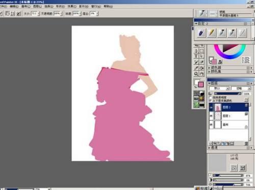 Painter结合友基数位板手绘插画:红衣模特