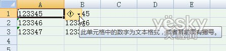 Excel2007中数字格式与文本格式互转