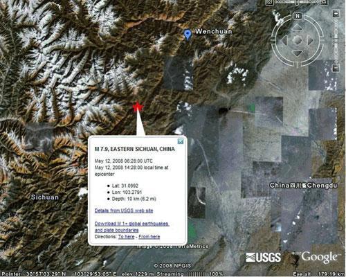 谷歌产品助你关注四川汶川大地震