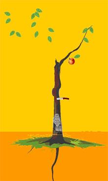 3、解释:红绿叶见密果,根不深,逢刀子,即使离婚分手,仍有幸福家庭