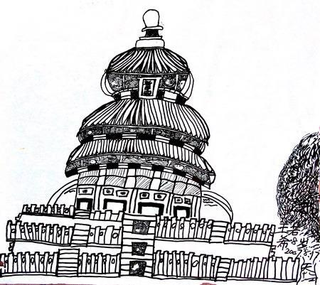 欧式宫殿建筑线描