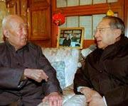 前国务院副总理李岚清与季老聊天